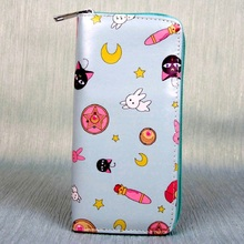 PU leather cartoon printing long wallets women money pouches phone purses bags bolsos mujer bolsas carteiras feminina for girls(China)