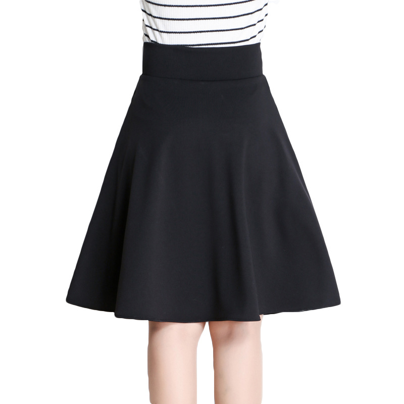 Autumn Winter A-Line Pleated Skirt Women Korea Style Elegant High Waist Full Skirt Female Sexy Black Red Mini Skirt Plus Size