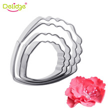 Delidge 4pcs/lot Heart Peony Flower Cake Mold Stainless Steel Fondant Sugarcraft Cookie Biscuit Cutter Xmas Cake Decorating Mold