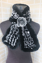 Genuine  rex rabbit fur  scarf wrap cape  collar rose flower decoration black with white tips shipping free