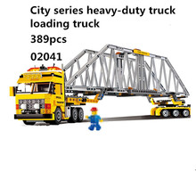 389pcs Lepin 02041 city series heavy load truck load truckpuzzle building block toys For Children(China)