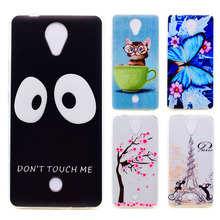 AKABEILA Thin Soft TPU Phone Case For WiKo U FEEL/BLU R1 HD e Cover Painted Butterfly Cute Cat Big Eyes Cellphone Skins Cases(China)