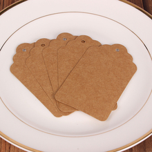 4*7Cm Kraft Paper Label Square Food Label Wedding Christmas Halloween Gift Cake Box Party Favor Gift Card Luggage Tags Brown