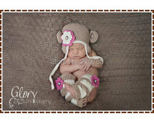 Free shipping Crochet Monkey Hat and Leg Warmer Patterns, Ear Flap Beanie, AMELIA and GEORGE MONKEY newborn photography props