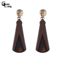 GuanLong Wholesale Fashion Long Resin Teardrop Earrings Jewelry For Dropshipping 6 Colors(China)