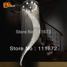 high quality large crystal chandelier modern LED lamp Dia80*H200cm lustre staircase lights(China)