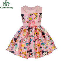Girls Dress Sleeveless Girls Sun Dress With Flower Cartoon Cute Mouse Kids Dresses For Girls Tunic Baby Ball Gown Comhoney
