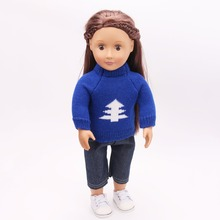 "2in 1 Set American Girl Doll Clothes of Multi Colors Sweaters+Denim Pants+White Tennis Doll Shoes for 18"" American Girl Doll(China)"