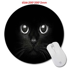 Sell Circular Animal Cat Design Print Wholesale New Round Mouse Pad Antiskid Rubber Mat game Mouse Pad, Office Gift 200*200*2mm