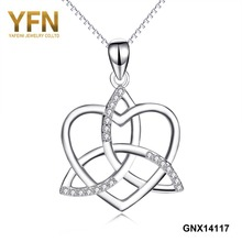 GNX14117 YFN 925 Sterling Silver AAA Cubic Zirconia Love Heart Fashion Knot Cross Pendants Necklaces For Women Maxi Necklace(China)