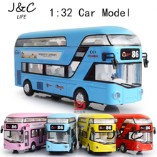 1:32 Double-decker tour bus Metal Alloy Diecast Toy Car Model Miniature Scale Model Sound and Light Emulation Electric Car