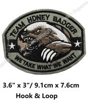 TEAM HONEY BADGER MILITARY TACTICAL US ARMY ISAF Hook & Loop Patches BADGE MORALE MILSPEC MILITARY SWAT Embroidered OUTDOOR(China)
