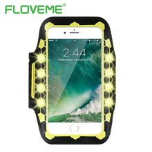 FLOVEME LED Flash Sports Arm Band For iPhone 8 6 6S Universal 4.7 inch Waterproof Adjustable Running Phone Bag Case For iPhone 7(China)