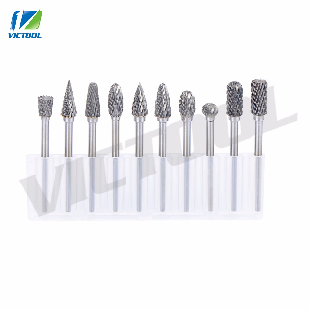 High Quality 10pcs 1/8 Tungsten Carbide Burr 3mm Rotary Cutter files Set CNC Engraving bit 6mm head with Box for shank 3mm<br><br>Aliexpress