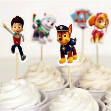 24pcs Cute dog patrol football basketball toy story sports boy Cupcake Toppers Pick decoration kids birthday party supplies