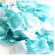 1000PCS Mixed Teal Blue & White Silk Rose Petals Wedding Flowers Party Centerpieces Table Scatters Bridal Shower Decoration(China)