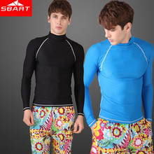 SBART Long Sleeve Rashguard Swim Shirts Mens Rash Guard Surf Shirt Swimwear Rashgard Swimming Diving Suit Wetsuit Top Sale