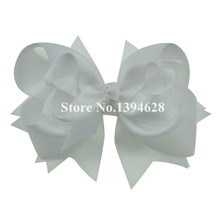 $1/1PCS 5 inches 3 Layers Solid White Bows With 6cm Clips Boutique Ribbon Bows For Girls Hair Accessories(China)