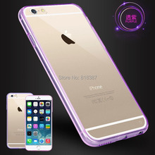 Fashion Candy Color Soft Transparent TPU + Full Clear Acrylic Case Cover Skin for iPhone 6 6S 4.7 inch With Dust Plug 500pcs/lot