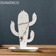 DUNXDECO Modern White Cactus Iron Sheet Accessory Rack Fashion Table Orgnsier Iron Craft Hook Store Decoration Photo Prop