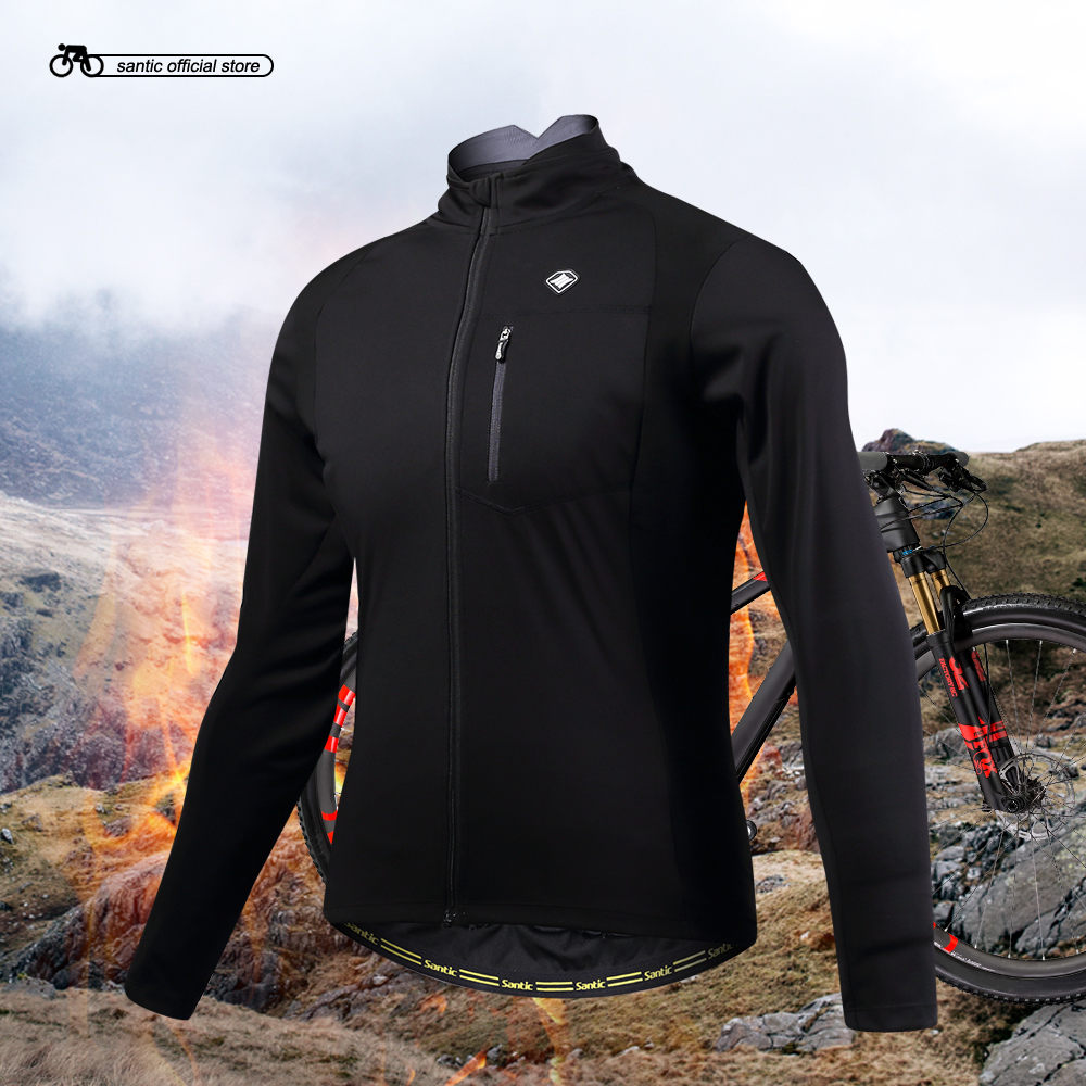 Santic Mens Cycling Jackets Cycling Windproof Jacket Coat Keep Warm Black Spring Autumn Winter Cycling Clothings KC6104H<br>