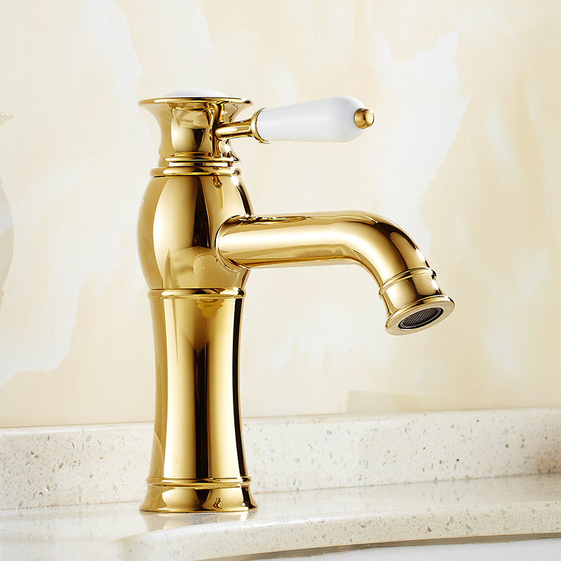 Vintage Gold Counter Top Basin Water Faucet Classic Porcelain Single Handle Sink Basin Hot and Cold Mixer Tap Torneira da Bacia<br><br>Aliexpress