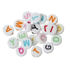 MJARTORIA Multi-color Beads Round Alphabet Letters Acrylic Beads For Jewelry Making DIY Jewelry Findings DIY Gift 500PCs 7x7mm