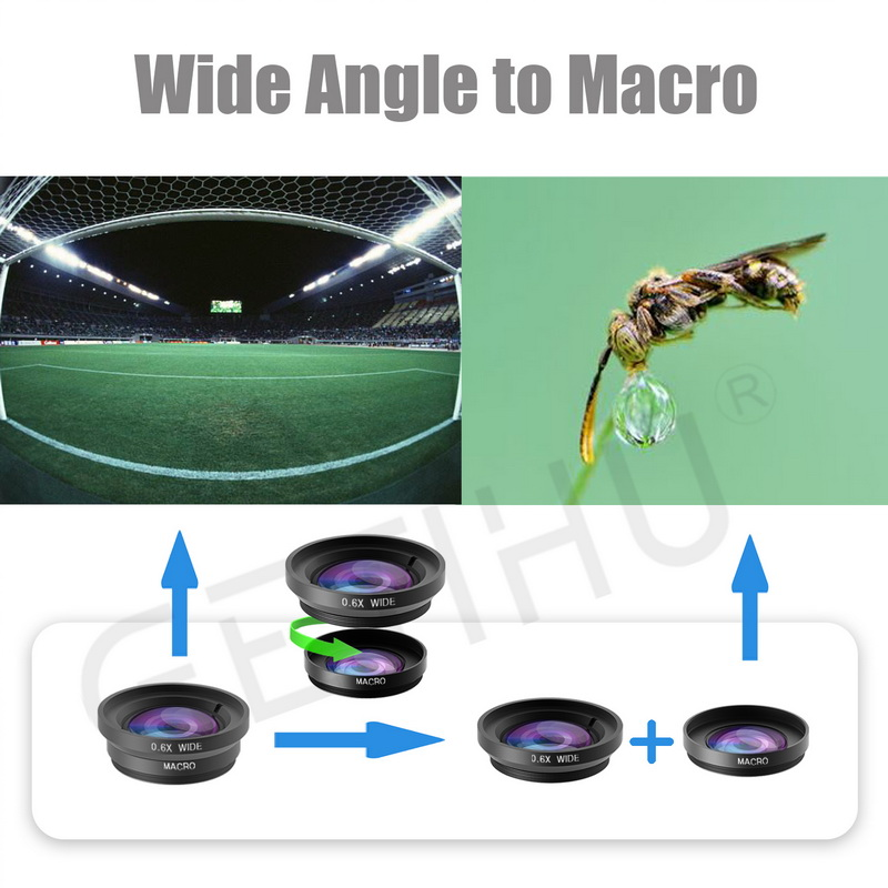 Universal Fisheye Lens 3 in 1 Mobile Phone Clip Lenses Fish Eye Wide Angle Macro Camera Lens for Smartphone iPhone 6 Microscope 3
