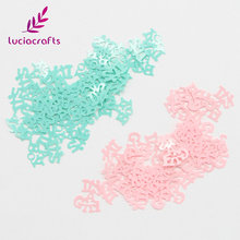 Lucia crafts 15g/lot Pink /Lake green Plastic Boy/Girl Letters Confetti DIY Kids Birthday Party Table Decor materials 043007021(China)