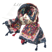 Scarf women cotton and linen floral tassel shawl for spring and autumn Sunscreening summer scarves stoles Large beach towels