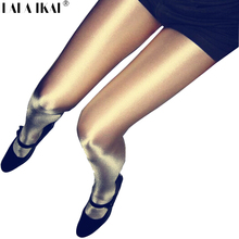 Sexy Women Shiny Pantyhose Super Elastic Magical Stockings Shinning Glitter Tights Plus Size 70 D Skinny Shimmer Tights Ladies(China)
