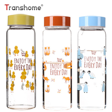 Transhome Glass Water Bottle 450ml Creative Cartoon Duck Penguin Rabbit Fox Transparent Portable Drinkfles Office Outdoor Bottle(China)