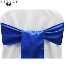 1pcs Wedding Decoration Chair Satin Sashes Tiffany Blue Gold Satin Chair Sashes Bow Tie for Hotel Marriage Banquet Chair Bow