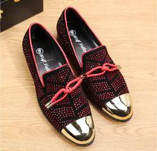 2017 Fashion Casual Formal Shoes For Men Black Genuine Leather Tassel Men's Wedding Shoes Gold Metallic Mens Studded Loafers(China)
