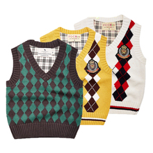 Kids sweater patterns vest cardigan knitted vest children preppy style boys vest solid spring&autumn waistcoat boy outerwear(China)