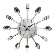 Cool Stylish Modern Design Wall Clock Silver Kitchen Cutlery Utensil Vintage Design Wall Watch Clock Spoon Fork Home Decor