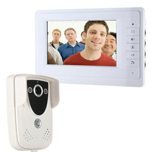 "Wired Color 7"" TFT LCD Display 4-line Video Door Phone Doorbell Intercom System With High Definition IR Night Vision Camera"