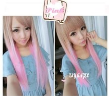 Girls Two Tone Long Straight Highlights Hair Wigs Pink