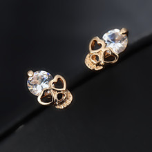 2016 New Arrival Fashion Jewelry High Quality Cubic zirconia Rhinestone Crystal Skull Stud Earrings For Women e017