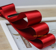 NEW Red 4cm Satin ribbon satin fabric for sinamay fascinator hair accessory dress hat bag clothes belt gift box wedding hat.(China)