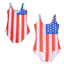 Flag Of The United States Women Sport One Piece Monokini Swimsuit Red Stripes American National Flag Swimwear Bathing Suits
