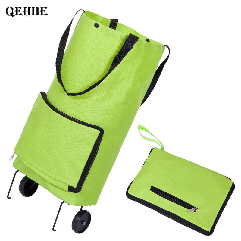 Folding cart tote bag Groceries shopping trolley Canvas Shopping cart on wheels reusable shopping bag