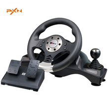 PXN-V6 Illusiveness USB Wired Vibration Motor Racing Games Steering Wheel with Hand brake Pedals For PC Computer Racing Game