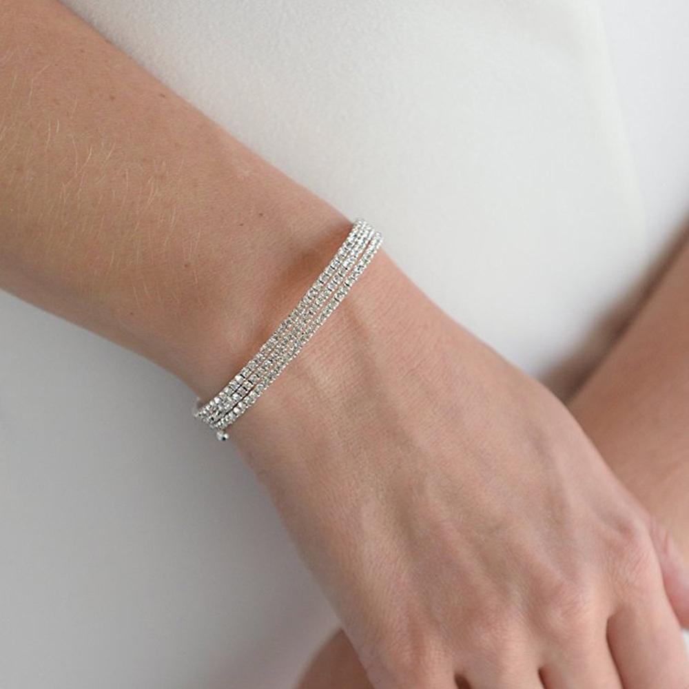 Mariell Austrian Crystal Rhinestone 3-Row Adjustable Coil Cuff Bangle Bracelet for Prom, Wedding & Bridal