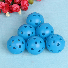 6PCS Plastic Outdoor Sports Round Training Golf Balls Whiffle Airflow Hollow Out Beginner Golf Game Blue Practice Balls 2017 New
