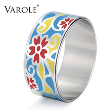 VAROLE Trendy Enamel Jewelry Double Layer Bracelet 30mm Width Color Design Bangle for Women Stainless Steel Enamel Jewelry Gift(China)