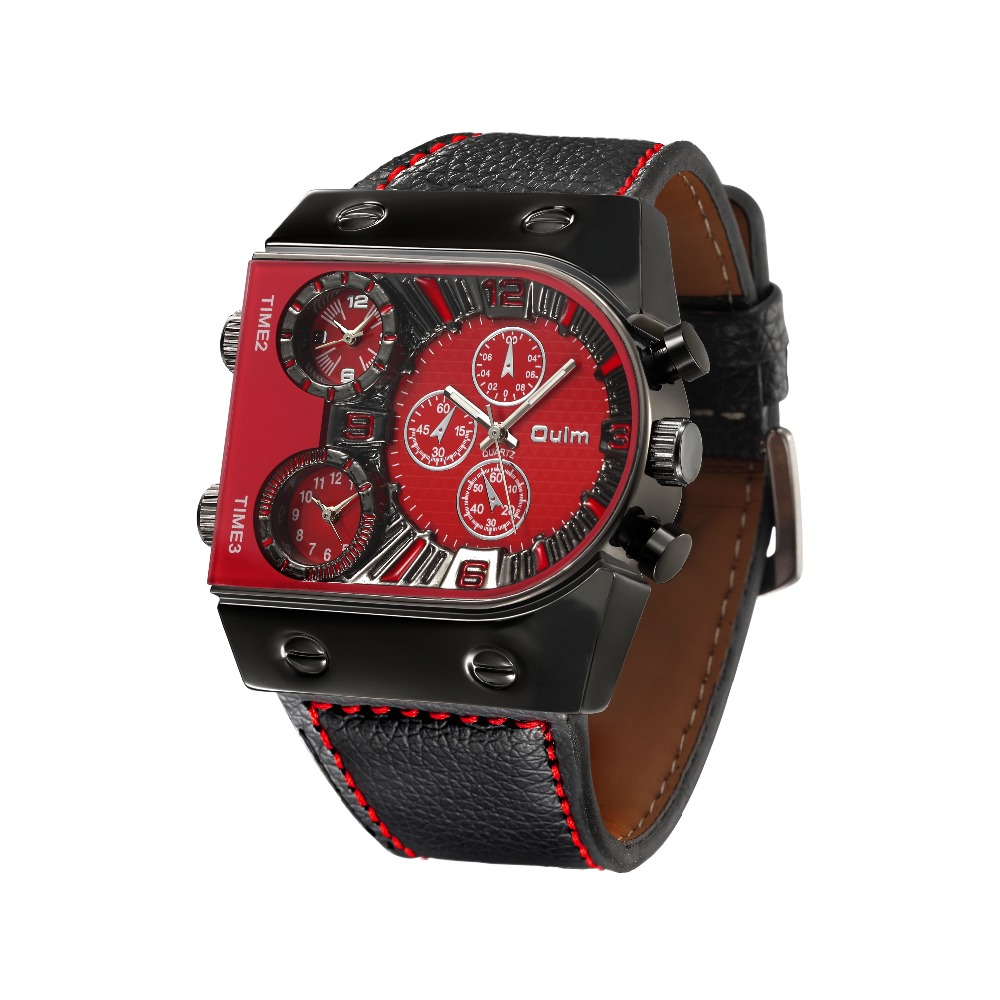 OULM Sport Watch Men Quartz Analog Clock 3 Time Zone Sub-dials Design Big case Oversize Fashion Black Wrist Watches relogio 24