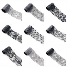 Amazing 1 roll 4*100 CM Black Lace Starry Sky Design Nail Art Foil Stickers Transfer Decal Tips Manicure F21X18