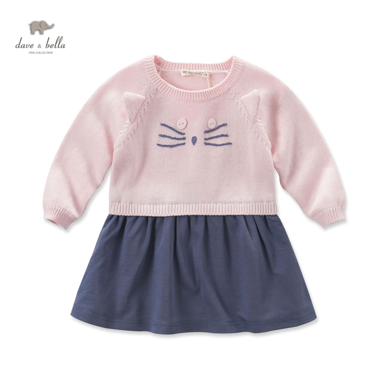 DB3945 dave bella autumn baby girls pink dress cat dress <br>