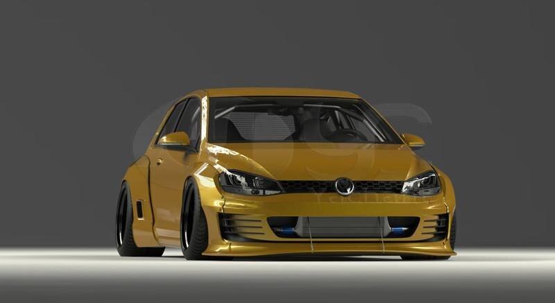 2015-2017 Volkswagon Golf MK7 GTI Pandem Rocket Bunny Style Wide Body Kit FRP (59)